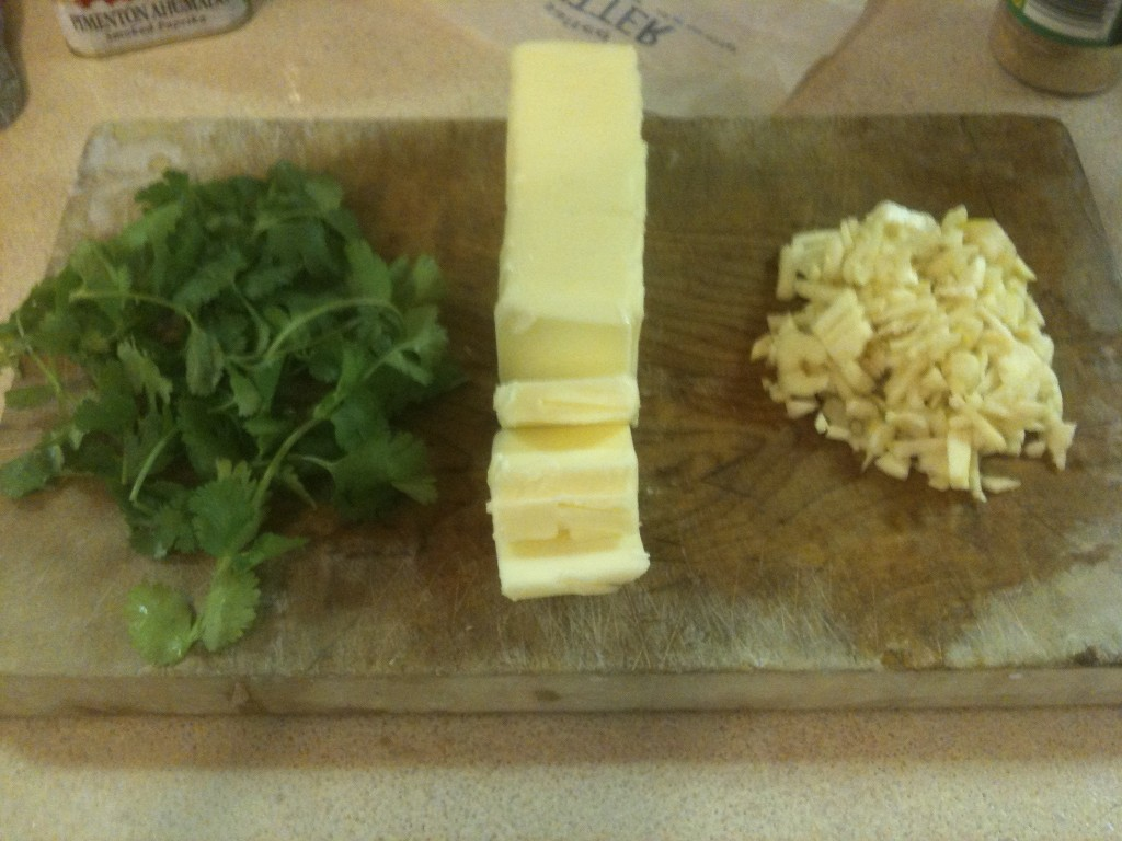 Butter, garlic, and some fresh cilantro are my primary flavor ingredients for this batch.